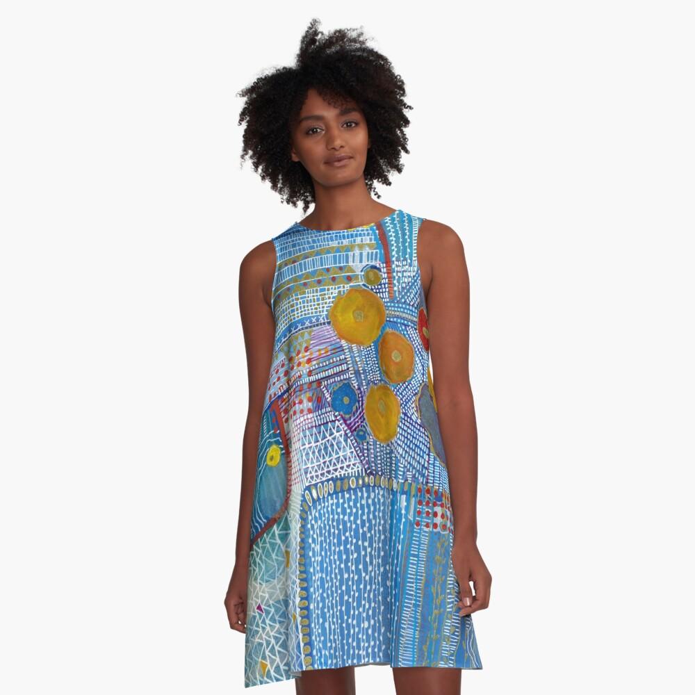 A Blue Sensation A-Line Dress Front