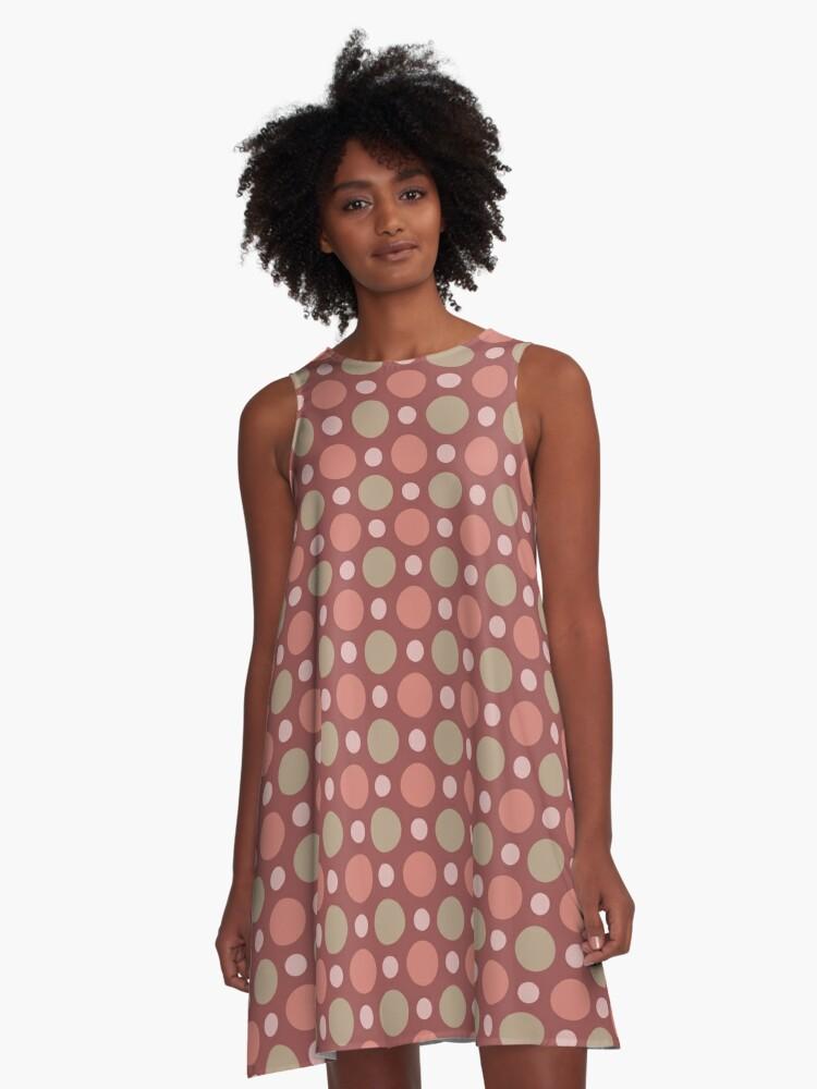 Polka Dots Wine Red Marsala Travertine Terra Cotta A-Line Dress Front