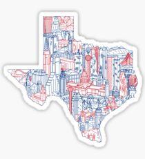 Texas Landmarks Map Art Sticker