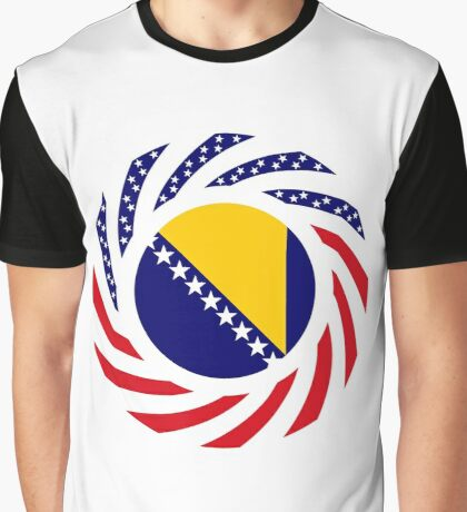 Bosnian American Multinational Patriot Flag Series Graphic T-Shirt