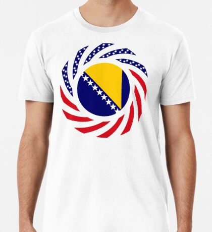 Bosnian American Multinational Patriot Flag Series Premium T-Shirt