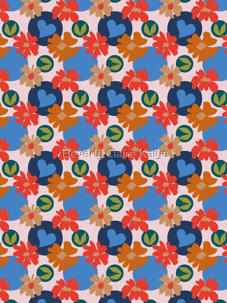 Fashionable Autumn Fall Floral Heart Leaves Dots Pattern by beverlyclaire