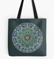 Hand Drawn Pink Purple Mandala  on Dark Tote Bag