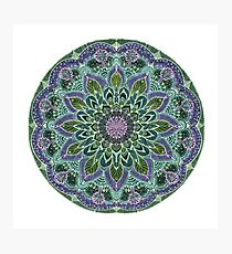 Hand Drawn Pink Purple Mandala  on Dark Photographic Print