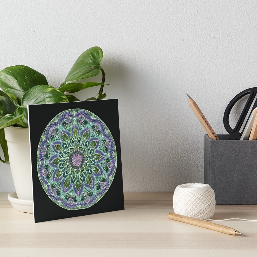 Hand Drawn Pink Purple Mandala  on Dark Art Board Print