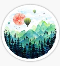 Mountains and hot air balloons  Sticker
