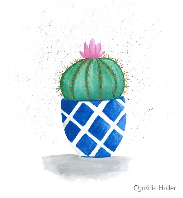 Round cactus in blue pot by Cynthia Haller