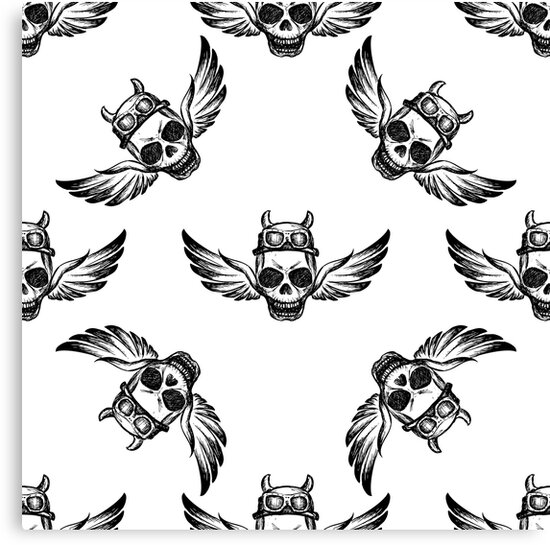 Skulls with wings pattern by naum100