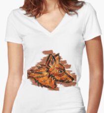 Graffiti Fox Women's Fitted V-Neck T-Shirt