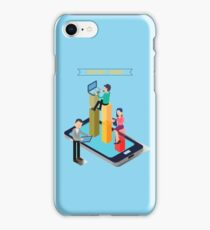 Distant Work. Team Work. Modern Technology. Remote Work. Isometric People. Isometric Concept. Man with Laptop. Woman with Tablet. Man with Tablet. iPhone Case/Skin