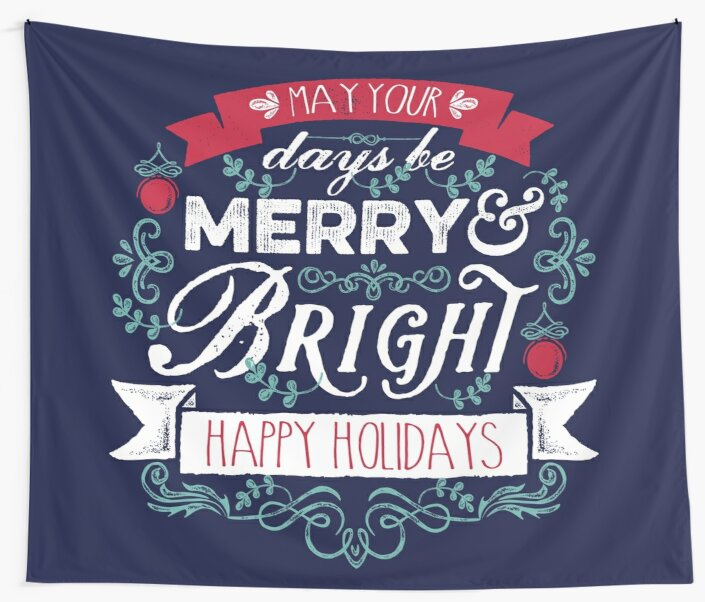 Merry & Bright Christmas Happy Holidays Typography by Beverly Claire Kaiya