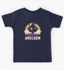 Ninja Unicorn Colorful Rainbow Metal Martial Arts Kids Tee