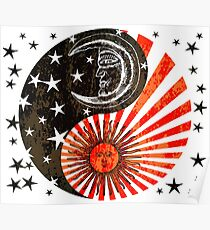 Sun Moon & Stars Yin Yang Distressed Red & Black Design Poster