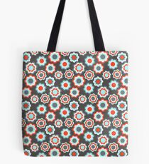Red teal gray vintage retro girly pattern Tote Bag