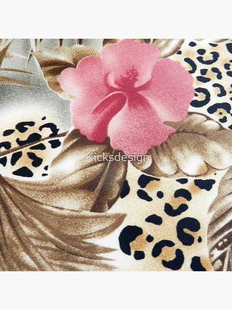 Estampado de leopardo marrón rosado femenino abstracto floral de Kicksdesign