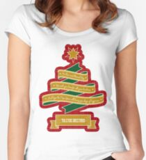 Christmas Tree Ribbon Red Plaid Yuletide Greetings Women's Fitted Scoop T-Shirt