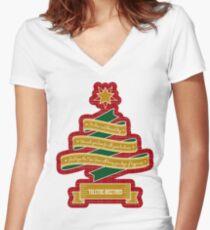 Christmas Tree Ribbon Red Plaid Yuletide Greetings Women's Fitted V-Neck T-Shirt
