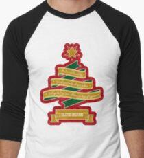 Christmas Tree Ribbon Red Plaid Yuletide Greetings Men's Baseball ¾ T-Shirt