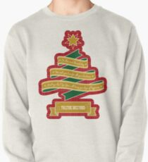 Christmas Tree Ribbon Red Plaid Yuletide Greetings Pullover Sweatshirt