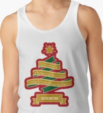 Christmas Tree Ribbon Red Plaid Yuletide Greetings Tank Top