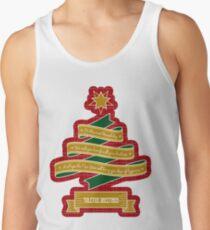 Christmas Tree Ribbon Red Plaid Yuletide Greetings Tank Top