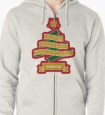 Christmas Tree Ribbon Red Plaid Yuletide Greetings Zipped Hoodie