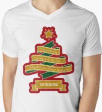 Christmas Tree Ribbon Red Plaid Yuletide Greetings Men's V-Neck T-Shirt
