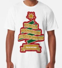 Christmas Tree Ribbon Red Plaid Yuletide Greetings Long T-Shirt