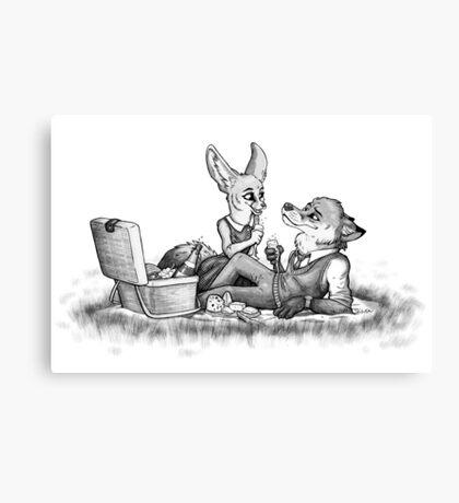 Foxy picnick Canvas Print