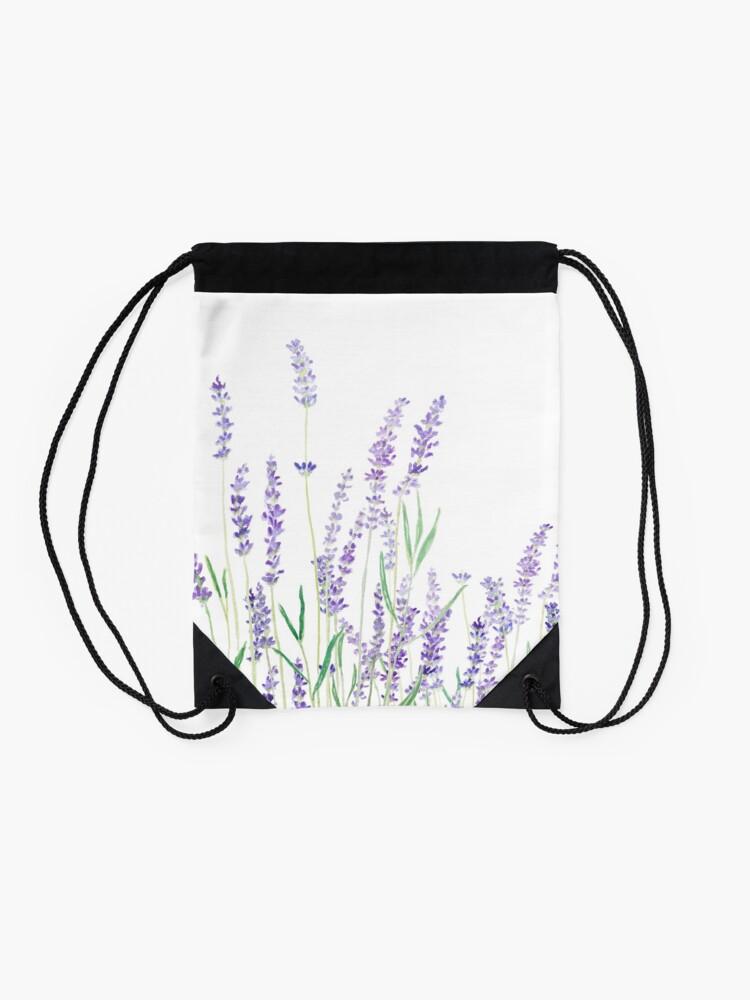 Alternate view of purple lavender  Drawstring Bag