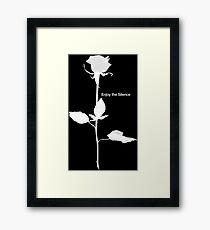 Enjoy the Silence style Rose white Framed Print
