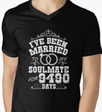 26th Wedding Anniversary Tshirts. Couples Gifts Men's V-Neck T-Shirt