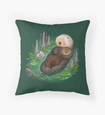 Sea Otter Mother & Baby Throw Pillow