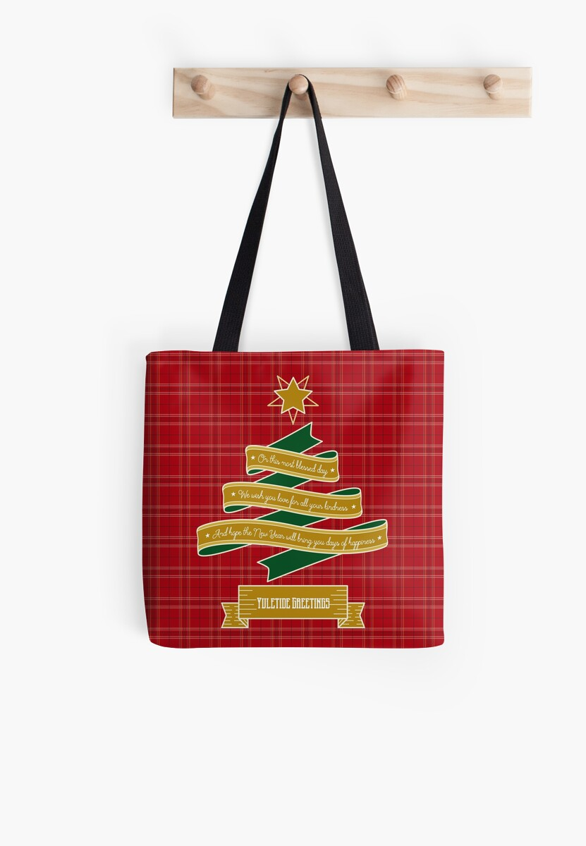 Ribbon Christmas Tree Red Plaid Yuletide Greetings by Beverly Claire Kaiya