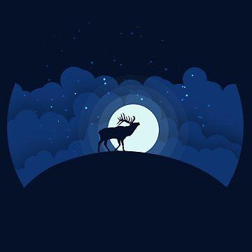 Night Sky with Elk by amedeea