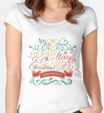 Have Yourself A Merry Little Christmas Love Typography Fitted Scoop T-Shirt