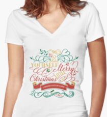 Have Yourself A Merry Little Christmas Love Typography Fitted V-Neck T-Shirt
