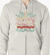 Have Yourself A Merry Little Christmas Love Typography Zipped Hoodie