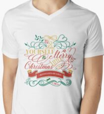 Have Yourself A Merry Little Christmas Love Typography V-Neck T-Shirt