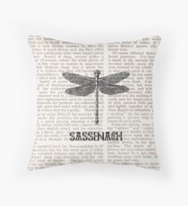 Dragonfly paper sassenach Throw Pillow