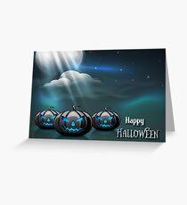 Halloween Scary Pumpkins Blue Moon Greeting Card
