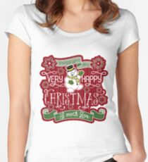 Snowman Very Happy Christmas With Much Love Typography Women's Fitted Scoop T-Shirt