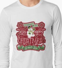 Snowman Very Happy Christmas With Much Love Typography Long Sleeve T-Shirt