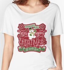 Snowman Very Happy Christmas With Much Love Typography Women's Relaxed Fit T-Shirt