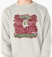 Snowman Very Happy Christmas With Much Love Typography Pullover Sweatshirt