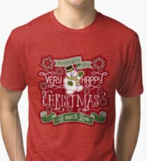 Snowman Very Happy Christmas With Much Love Typography Tri-blend T-Shirt