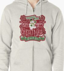 Snowman Very Happy Christmas With Much Love Typography Zipped Hoodie