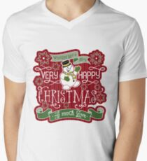 Snowman Very Happy Christmas With Much Love Typography Men's V-Neck T-Shirt