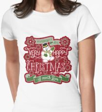 Snowman Very Happy Christmas With Much Love Typography Women's Fitted T-Shirt