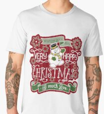Snowman Very Happy Christmas With Much Love Typography Men's Premium T-Shirt